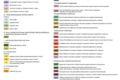 """Легенда. Карта """"Зоны и типы поясности растительности России и сопредельных территорий."""